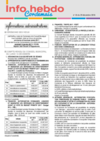 Info'Hebdo n° 45 du jeudi 29 décembre 2016