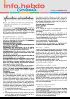 Info'Hebdo n° 30 du jeudi 15 septembre 2016