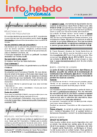 Info'Hebdo n°4 du jeudi 26 janvier 2017