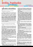 Info'Hebdo n°5 du jeudi 2 février 2017
