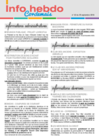Info'Hebdo n° 32 du jeudi 29 septembre 2016